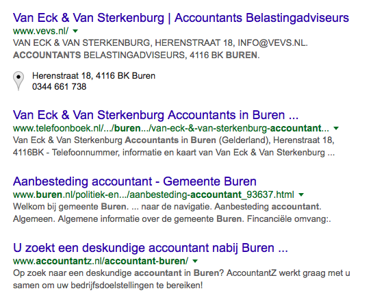 AccountantZ staat voor de meeste relevante zoektermen op de eerste pagina van Google